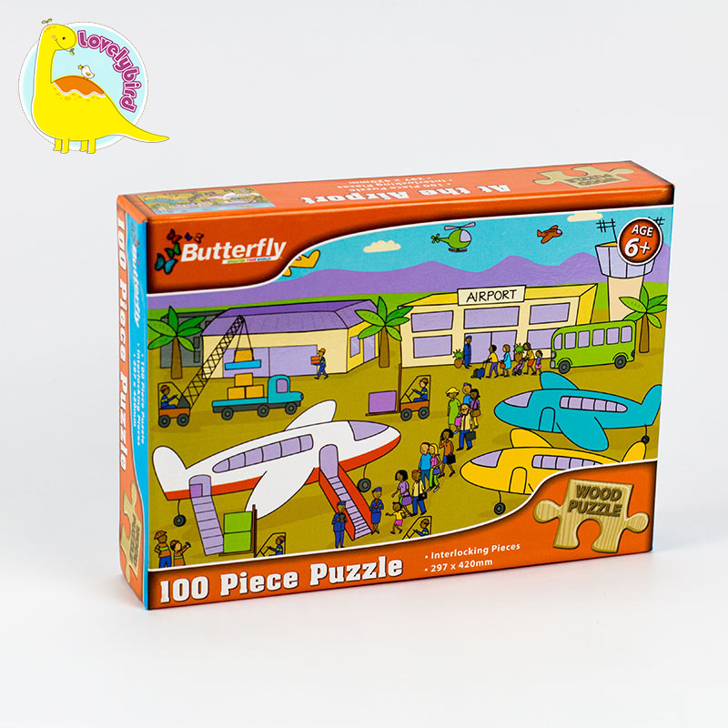 100pc Educational with Poster Wooden Puzzle for Kids