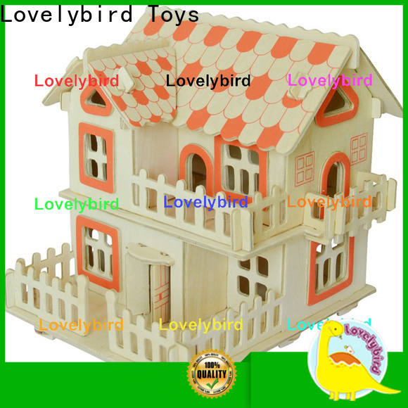 Lovelybird Toys interesting 3d wooden puzzle house factory for kids