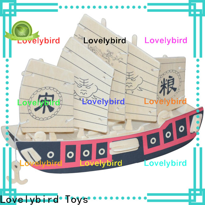Lovelybird Toys 3d wooden puzzle ship supply for present