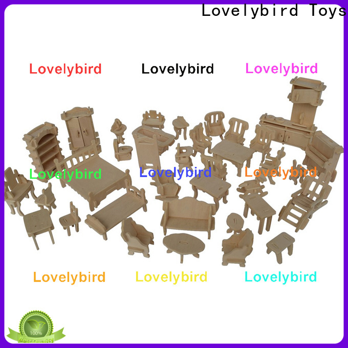 Lovelybird Toys custom 3d wooden puzzle dollhouse furniture company for kids