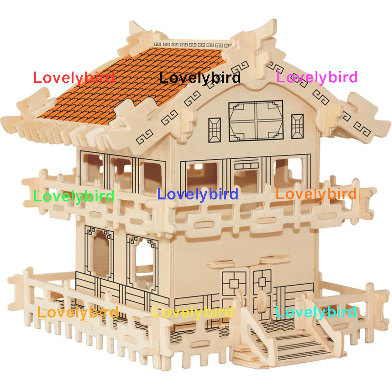 Lovelybird Toys 3d wooden puzzle house factory for kids-1
