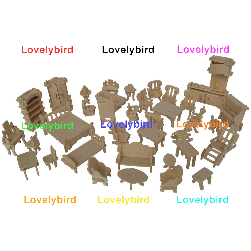 new 3d wooden puzzle dollhouse furniture company for sale-1